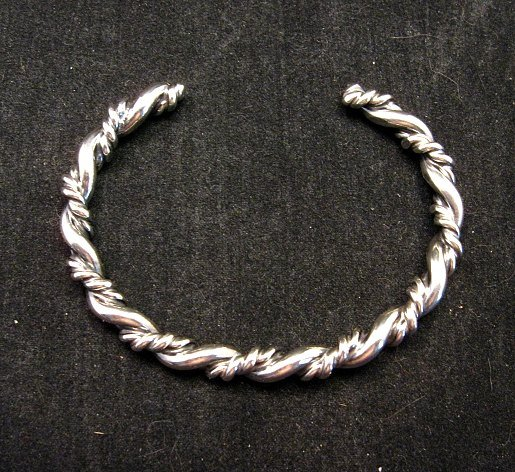 Image 3 of Navajo Native American Double Twisted Silver Bracelet, Travis Teller EMT