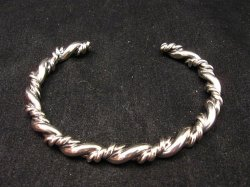 Navajo Native American Double Twisted Silver Stacker Bracelet, Travis Teller