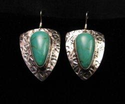 Navajo Kingman Turquoise Hammered Silver Shield Earrings, Everett & Mary Teller
