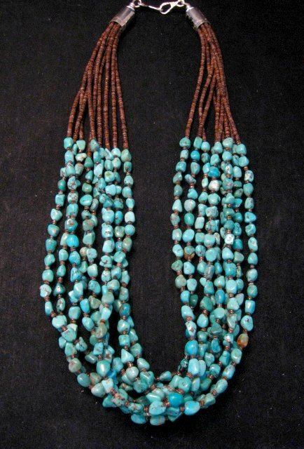 Image 1 of Everett & Mary Teller Navajo Natural Kingman Turquoise 9-Strand Necklace