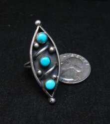 Vintage Native American Turquoise Silver Ring sz6-3/4