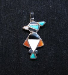 Vintage Native American Zuni Inlay Thunderbird Pendant / Charm