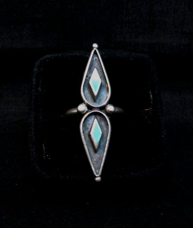 Image 2 of Long Vintage Native American Turquoise Silver Ring sz6 &sz7