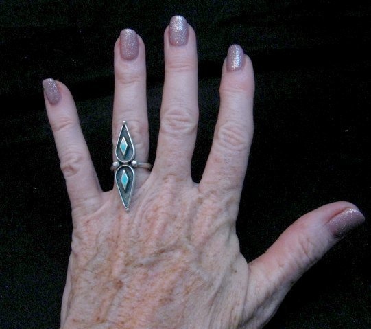 Image 1 of Long Vintage Native American Turquoise Silver Ring sz6 &sz7
