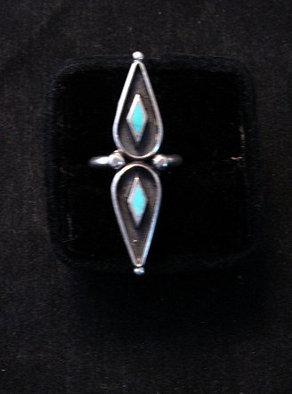 Image 0 of Long Vintage Native American Turquoise Silver Ring sz6 &sz7
