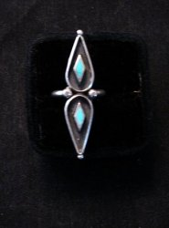 Long Vintage Native American Turquoise Silver Ring sz6 &sz7