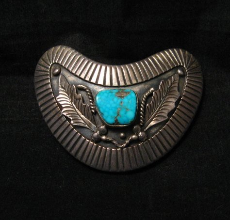 Image 0 of Vintage Navajo Native American Silver Turquoise Hair Clip or Collar Clip