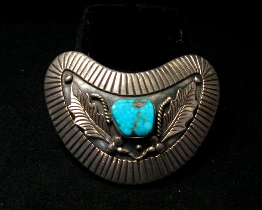 Image 1 of Vintage Navajo Native American Silver Turquoise Hair Clip or Collar Clip