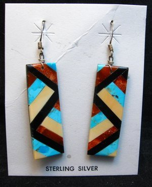 Image 0 of Santo Domingo Multi-stone Inlaid Earrings, Chaslyn Crespin