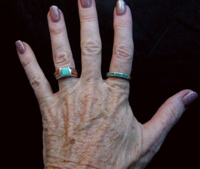 Image 1 of Skinny Vintage Native American Turquoise Inlay Ring sz8