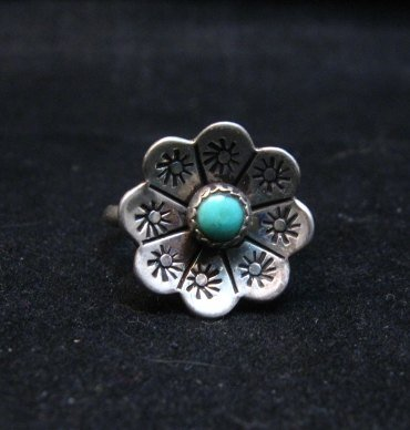 Image 0 of Vintage Native American Turquoise Silver Flower Ring sz6