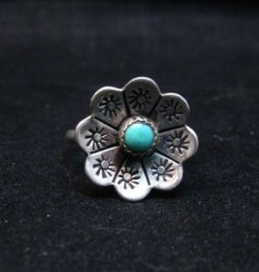 Vintage Native American Turquoise Silver Flower Ring sz6