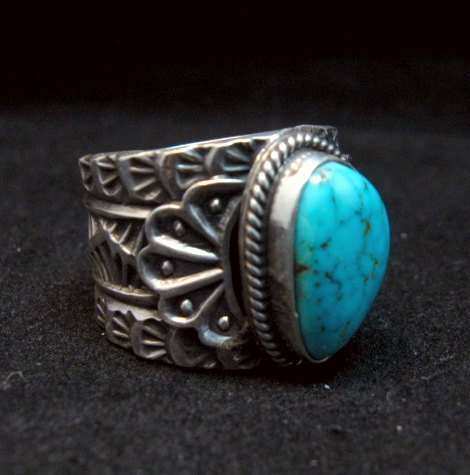 Image 1 of Wide Navajo Native American Sunshine Reeves Turquoise Ring sz8-3/4