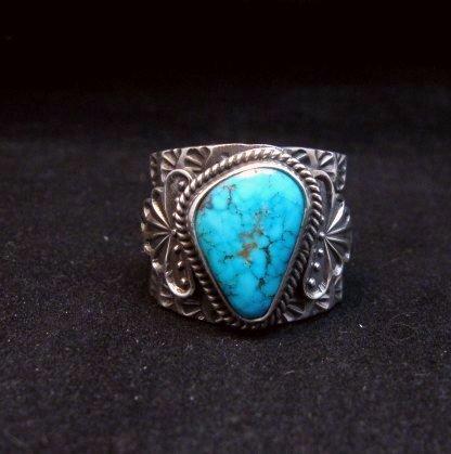 Image 0 of Navajo Native American Sunshine Reeves Kingman Turquoise Silver Ring sz10