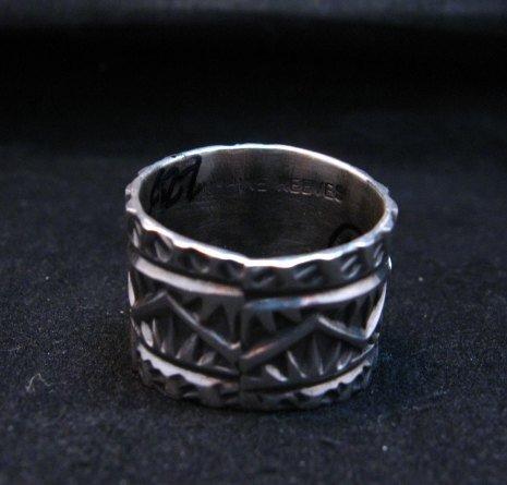 Image 4 of Navajo Native American Sunshine Reeves Kingman Turquoise Silver Ring sz10