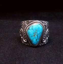 Navajo Native American Sunshine Reeves Kingman Turquoise Silver Ring sz10