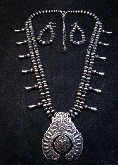 Image 0 of Darryl Becenti Navajo Native American Silver Squash Blossom Necklace Set