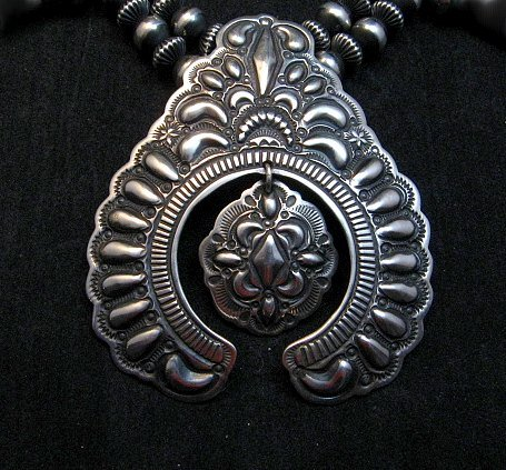 Image 1 of Darryl Becenti Navajo Native American Silver Squash Blossom Necklace Set