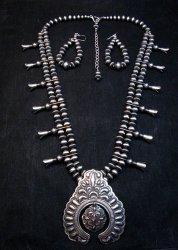 Darryl Becenti Navajo Native American Silver Squash Blossom Necklace Set