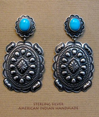 Image 0 of Big Navajo Turquoise Silver Concho Style Earrings, Tsosie Orville White