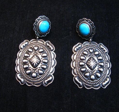Image 1 of Big Navajo Turquoise Silver Concho Style Earrings, Tsosie Orville White