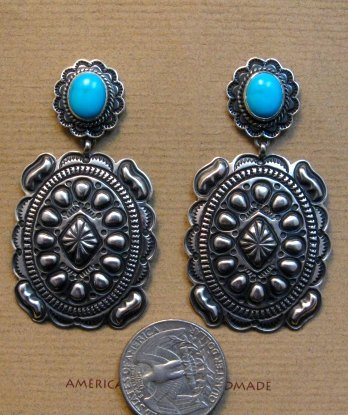 Image 3 of Big Navajo Turquoise Silver Concho Style Earrings, Tsosie Orville White