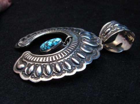 Image 2 of Large Navajo Native American Turquoise Silver Naja Pendant, Darryl Becenti