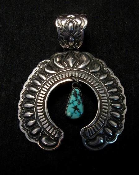 Image 5 of Navajo Native American Turquoise Silver Naja Unisex Pendant, Darryl Becenti