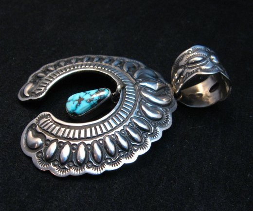 Image 1 of Navajo Native American Turquoise Silver Naja Unisex Pendant, Darryl Becenti
