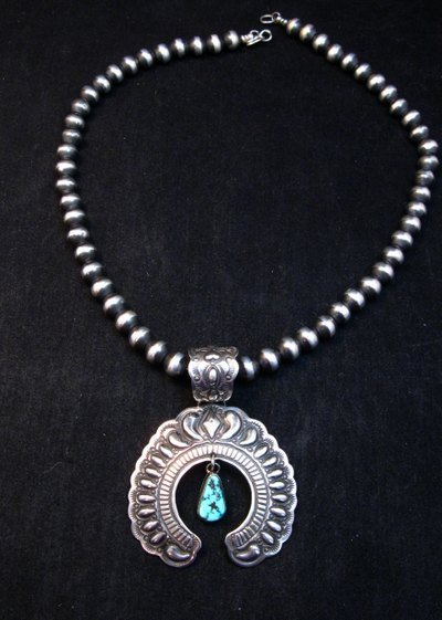 Image 3 of Navajo Native American Turquoise Silver Naja Unisex Pendant, Darryl Becenti