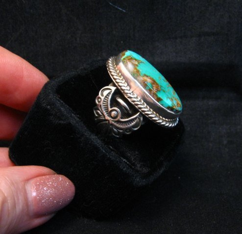 Image 2 of Albert Jake Navajo Native American Royston Turquoise Ring sz8-3/4
