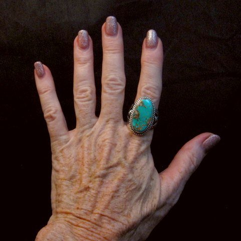 Image 3 of Albert Jake Navajo Native American Royston Turquoise Ring sz8-3/4