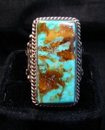 Image 0 of A++ Albert Jake Navajo Native American Royston Turquoise Ring sz9