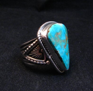 Image 1 of Albert Jake Navajo Native American Turquoise Ring Sz9-1/2 to sz11 adjustable
