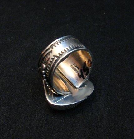 Image 3 of Albert Jake Navajo Native American Turquoise Ring Sz9-1/2 to sz11 adjustable
