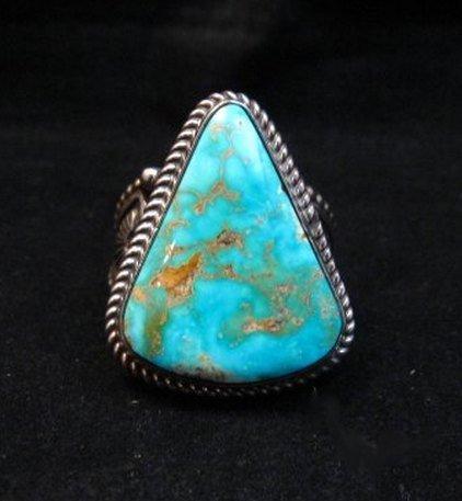 Image 5 of Albert Jake Navajo Native American Turquoise Ring Sz9-1/2 to sz11 adjustable