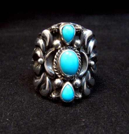 Image 0 of Darryl Becenti Navajo 3-stone Turquoise Silver Ring sz10-1/2