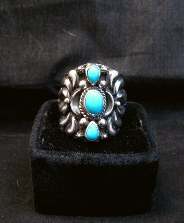 Image 5 of Darryl Becenti Navajo 3-stone Turquoise Silver Ring sz10-1/2