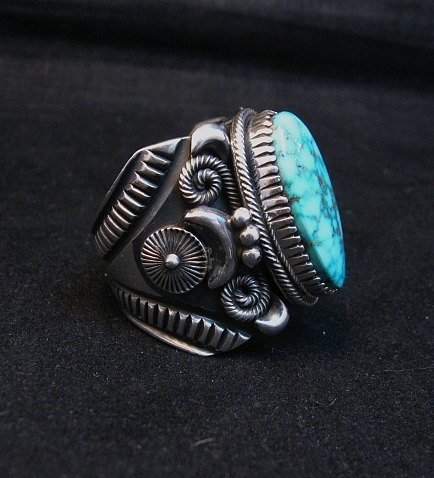 Image 1 of Wide Navajo Kingman Birdseye Turquoise Silver Ring Sz11, Delbert Gordon