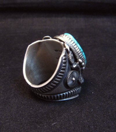 Image 2 of Wide Navajo Kingman Birdseye Turquoise Silver Ring Sz11, Delbert Gordon