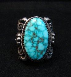 Wide Navajo Kingman Birdseye Turquoise Silver Ring Sz11, Delbert Gordon