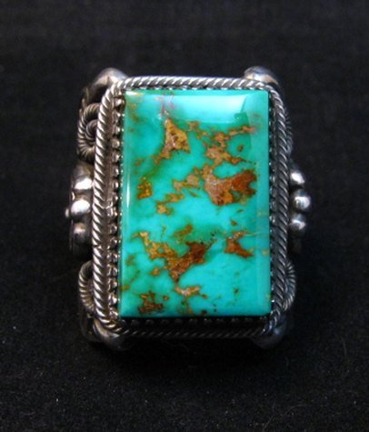 Image 0 of Navajo Native American Royston Turquoise Silver Ring Sz10-1/2, Delbert Gordon