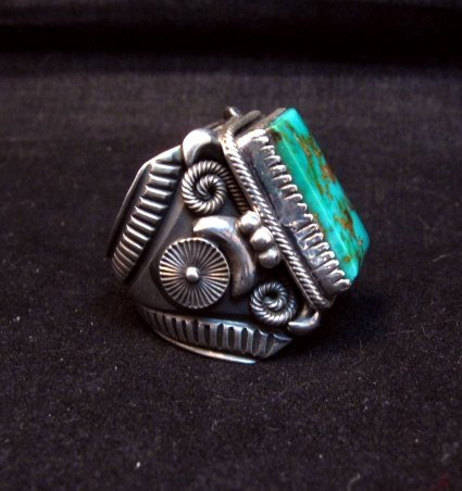 Image 1 of Navajo Native American Royston Turquoise Silver Ring Sz10-1/2, Delbert Gordon