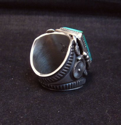 Image 2 of Navajo Native American Royston Turquoise Silver Ring Sz10-1/2, Delbert Gordon