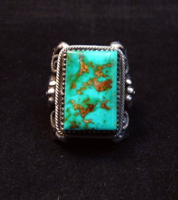 Image 5 of Navajo Native American Royston Turquoise Silver Ring Sz10-1/2, Delbert Gordon