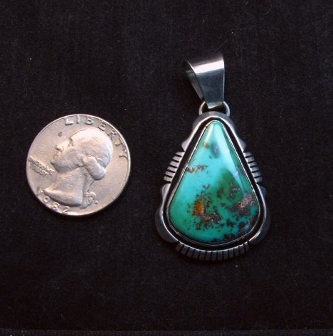 Image 1 of Navajo Roston Turquoise Silver Pendant, Cooper Willie