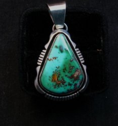 Navajo Roston Turquoise Silver Pendant, Cooper Willie