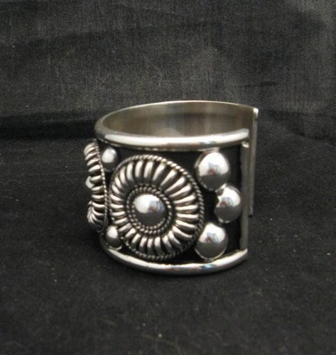 Image 3 of Native American Navajo Thomas Charley Silver Concho Bracelet