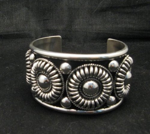 Image 1 of Native American Navajo Thomas Charley Silver Concho Bracelet