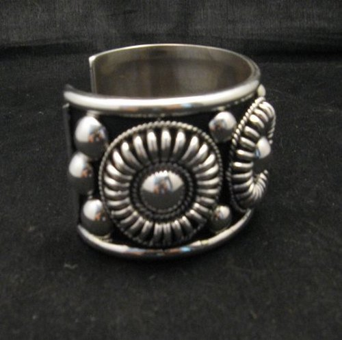 Image 2 of Native American Navajo Thomas Charley Silver Concho Bracelet